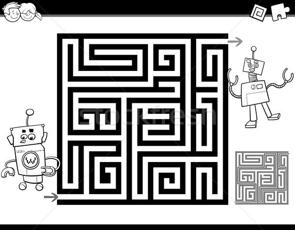 Doolhof labyrint pagina zwart wit cartoon illustratie Stockfoto © izakowski