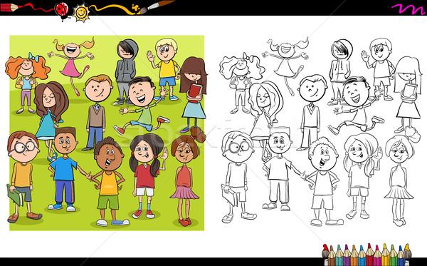 çocuk Boyama Kitabı Karikatür örnek Genç Vektör