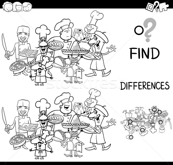 Diferencias página blanco negro Cartoon ilustración Foto stock © izakowski