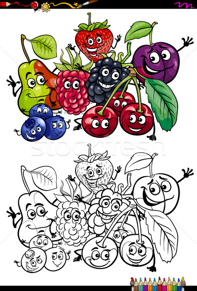 Stockfoto: Grappig · vruchten · kleurboek · cartoon · illustratie · voedsel