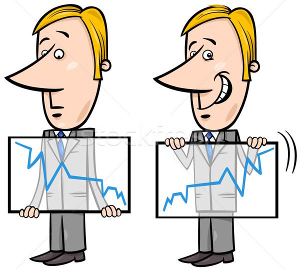 businessman and graph cartoon Stock photo © izakowski