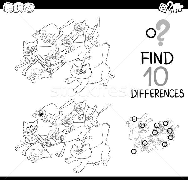 Kedi fark oyun sayfa siyah beyaz karikatür Stok fotoğraf © izakowski