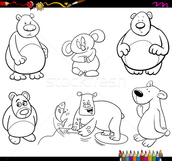 bear characters coloring page Stock photo © izakowski