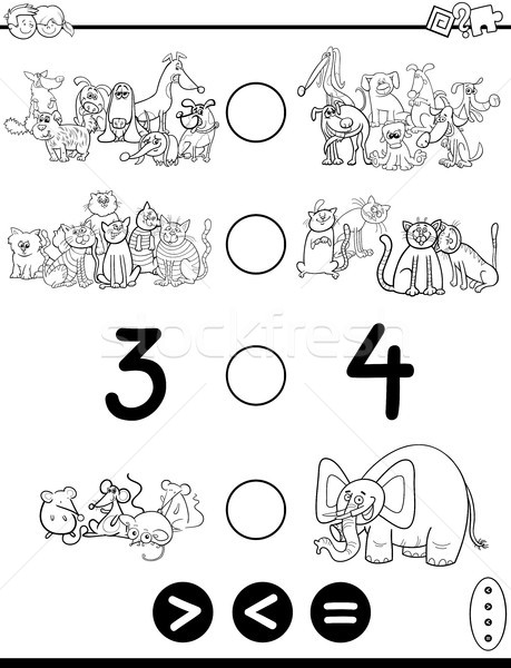 greater less or equal cartoon coloring page Stock photo © izakowski