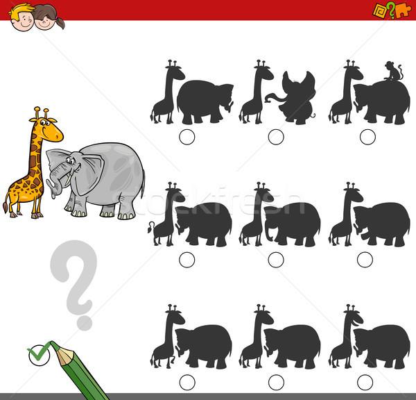 Schaduw spel activiteit safari dieren cartoon illustratie Stockfoto © izakowski