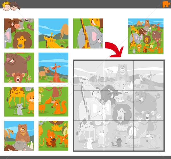 jigsaw puzzle game with cartoon animals Stock photo © izakowski