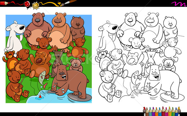 Stock fotó: Medvék · betűk · csoport · kifestőkönyv · rajz · illusztráció