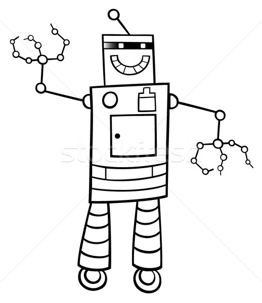 cartoon robot fantasy character color book Stock photo © izakowski