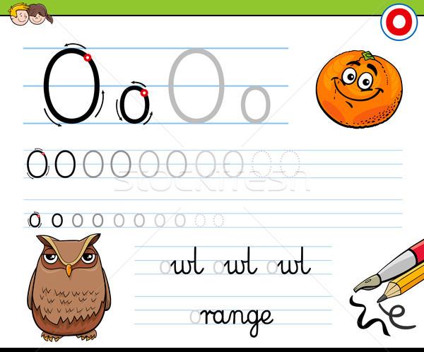 how to write letter O worksheet for kids Stock photo © izakowski