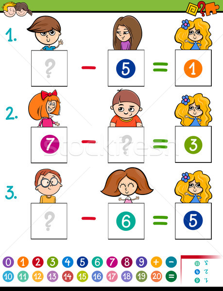 maths subtraction game with kid characters Stock photo © izakowski