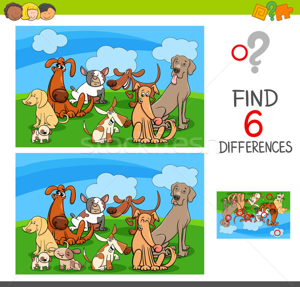 Diferenças jogo cães animal desenho animado Foto stock © izakowski