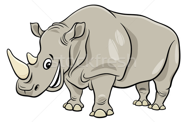Grappig neushoorn dier cartoon illustratie Stockfoto © izakowski