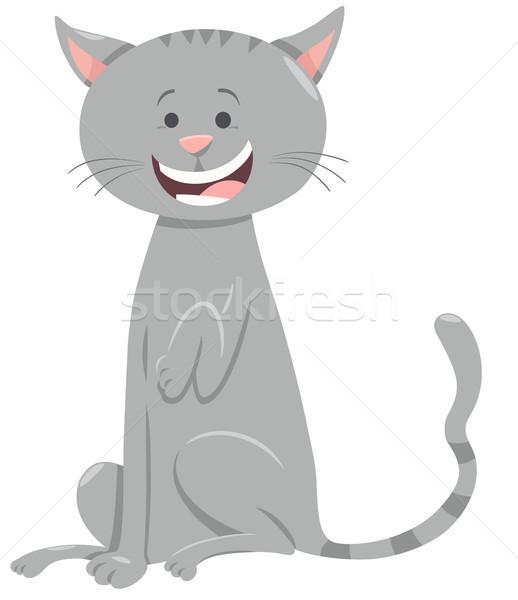 funny gray cat cartoon animal character Stock photo © izakowski