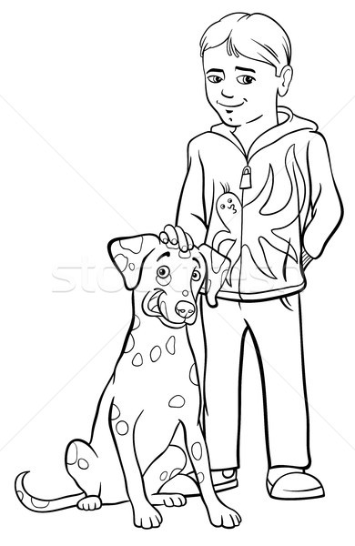boy with dalmatian dog cartoon coloring book Stock photo © izakowski