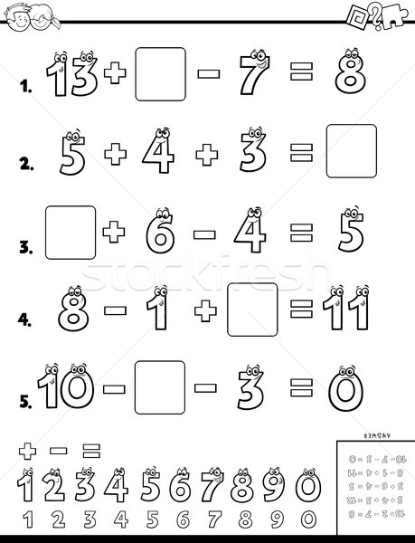 Cálculo educativo rompecabezas ninos blanco negro Cartoon Foto stock © izakowski