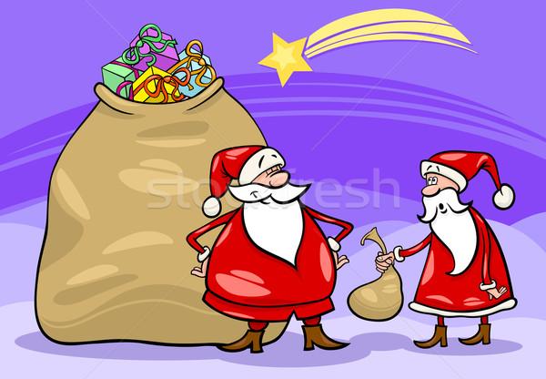 santa claus cartoon christmas illustration Stock photo © izakowski