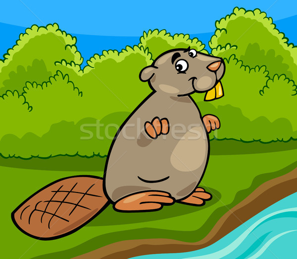 funny beaver cartoon illustration Stock photo © izakowski