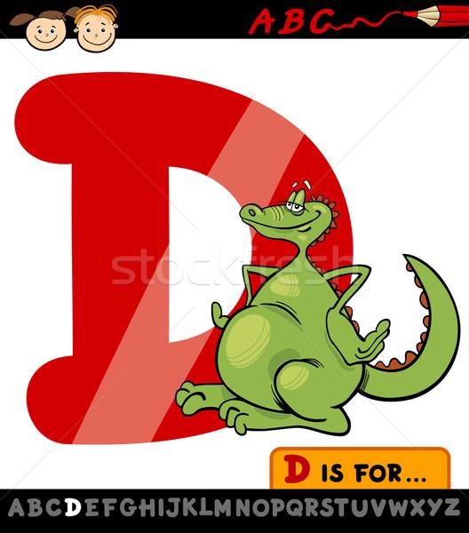 D betű sárkány rajz illusztráció nagybetű ábécé Stock fotó © izakowski
