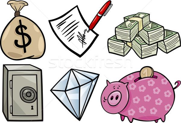 valuable objects cartoon illustration set Stock photo © izakowski