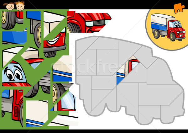 Stock photo: cartoon truck jigsaw puzzle game