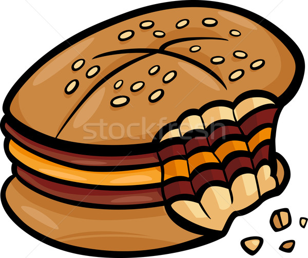 bitten cheeseburger cartoon clip art Stock photo © izakowski