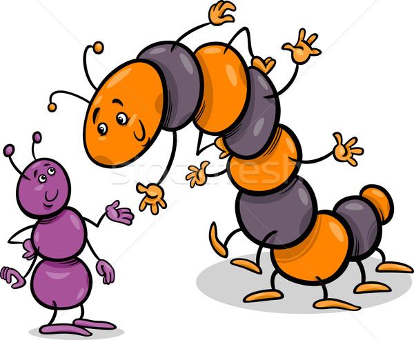 ant and caterpillar cartoon illustration Stock photo © izakowski