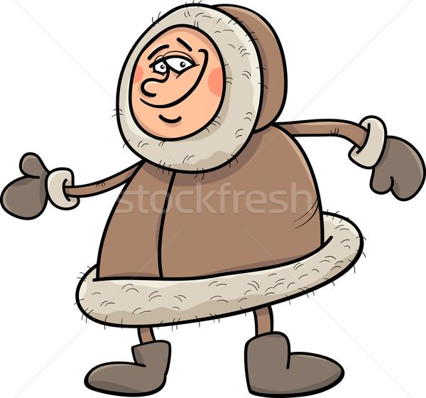 eskimo cartoon illustration Stock photo © izakowski