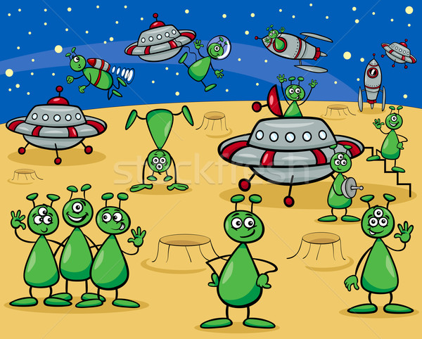Cartoon illustraties fantasie groep ufo Stockfoto © izakowski