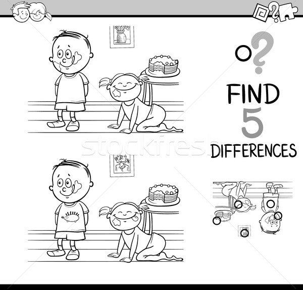 Verschillen activiteit pagina zwart wit cartoon illustratie Stockfoto © izakowski