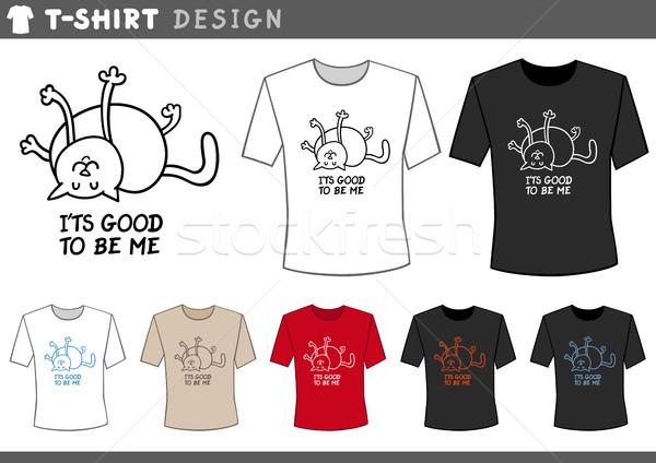 t shirt design with happy cat Stock photo © izakowski