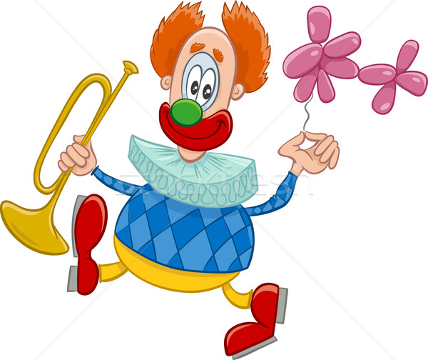 clown with trumpet cartoon Stock photo © izakowski