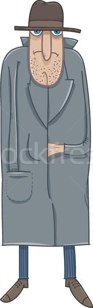 Foto stock: Cartoon · ilustración · hombre · sombrero · abrigo · tipo