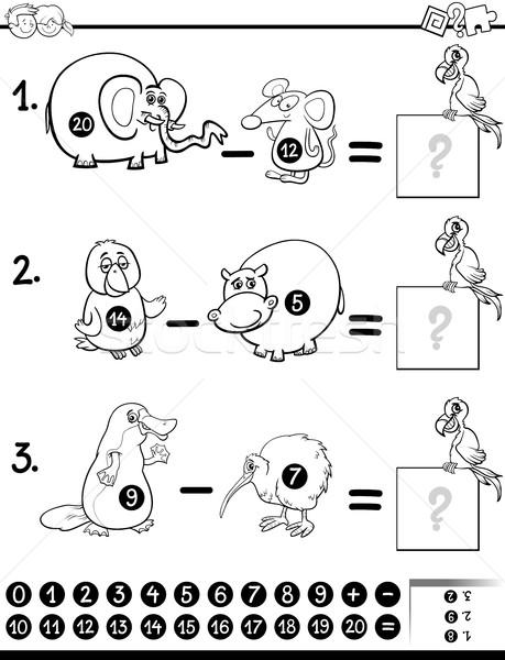 Odejmowanie gry czarno białe cartoon ilustracja Zdjęcia stock © izakowski