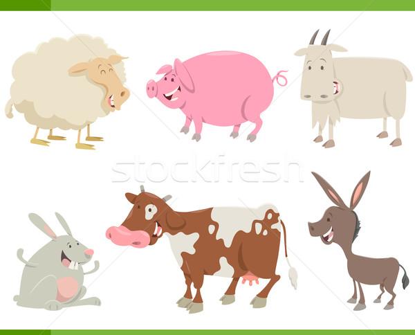 Haszonállat betűk szett rajz illusztráció mosoly Stock fotó © izakowski