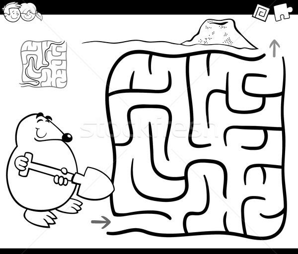 лабиринт моль страница черно белые Cartoon иллюстрация Сток-фото © izakowski