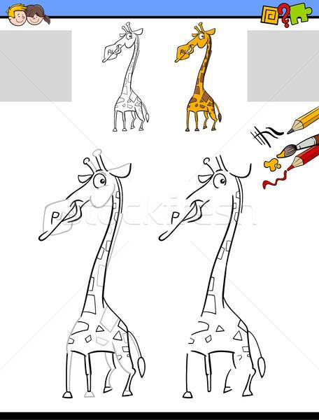 drawing and coloring worksheet with giraffe Stock photo © izakowski