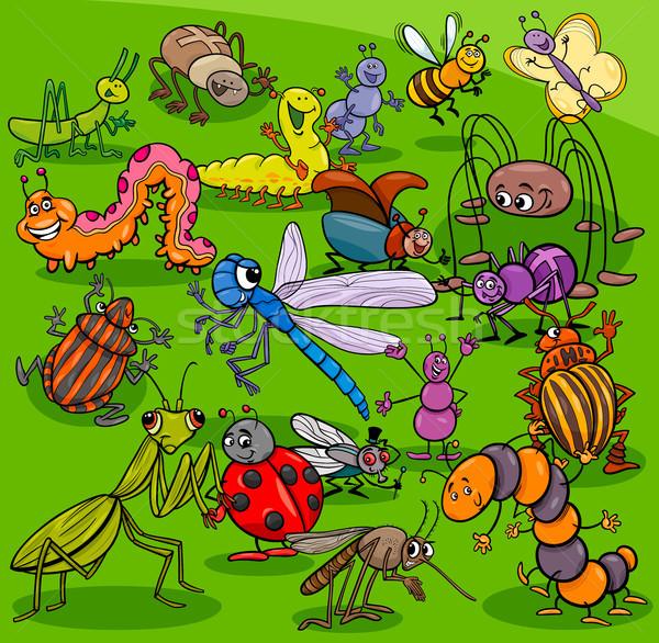 Karikatur Insekten Tier Zeichen Gruppe Illustration Stock foto © izakowski