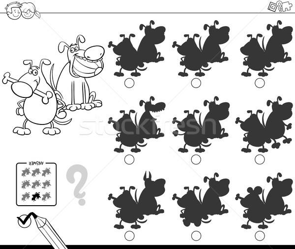 shadows with funny dogs coloring book Stock photo © izakowski