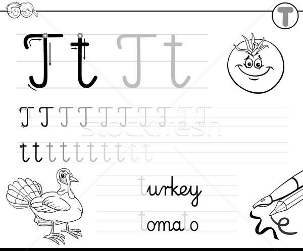 learn to write letter T workbook for kids Stock photo © izakowski