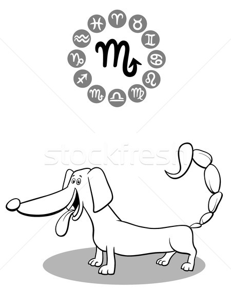 cartoon dog as Scorpio Zodiac sign Stock photo © izakowski