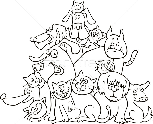 Kediler Kopekler Ornek Boyama Kitabi Gokyuzu Gulumseme