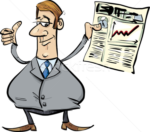 Stock photo: Satisfied businessman with newspaper