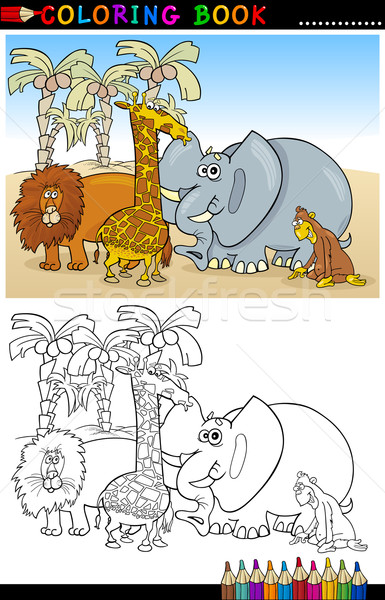 Wild safari dieren kleurboek pagina cartoon illustratie Stockfoto © izakowski