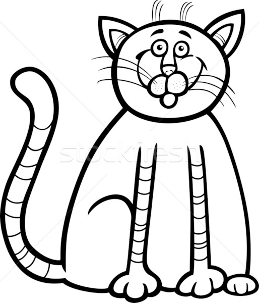 happy cat cartoon for coloring book Stock photo © izakowski