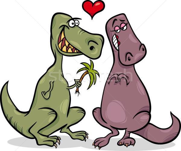 dinos in love cartoon illustration Stock photo © izakowski