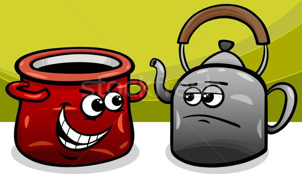 Pot çağrı siyah karikatür mizah Stok fotoğraf © izakowski