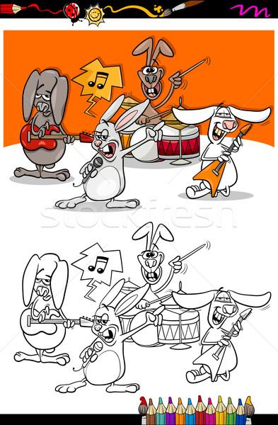 bunnies band cartoon coloring book Stock photo © izakowski