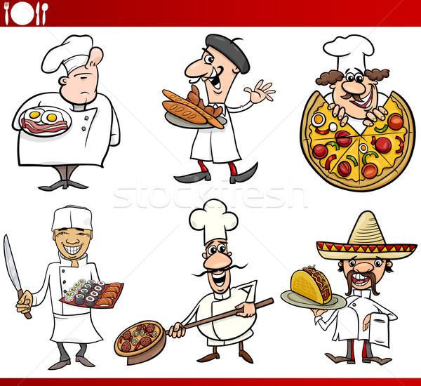 international cuisine chefs cartoons Stock photo © izakowski