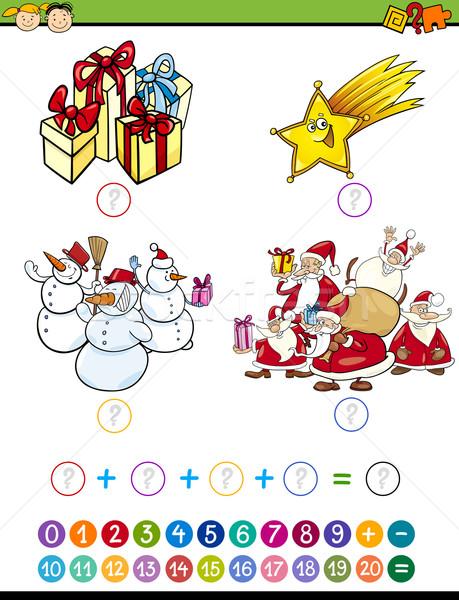 Matemáticas juego Cartoon ilustración educación matemático Foto stock © izakowski