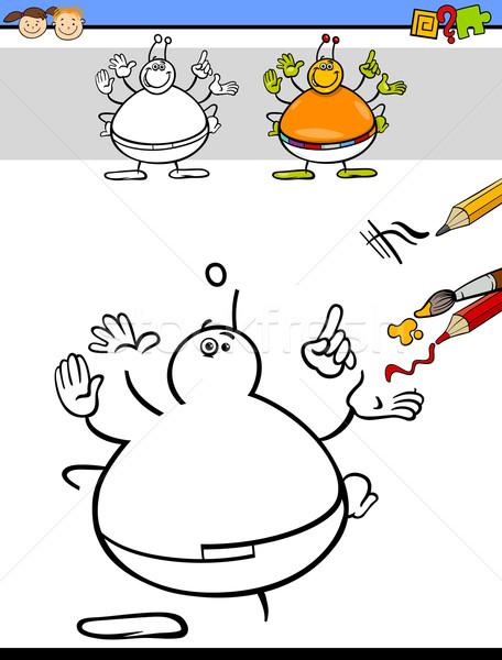 Tarea niños en edad preescolar Cartoon ilustración dibujo educativo Foto stock © izakowski